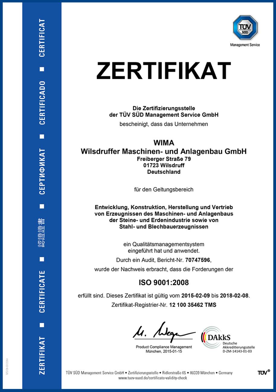 Zertifikat ISO 9001 : 2008